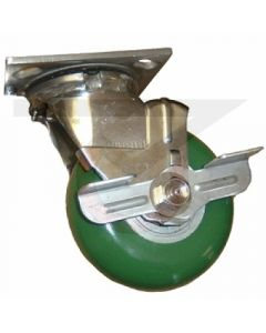 """Stainless Swivel Caster with Brake - 5"""" x 2"""" Poly on Aluminum Round Tread"""