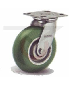 """Stainless Swivel Caster - 5"""" x 2"""" Poly on Aluminum Round Tread"""