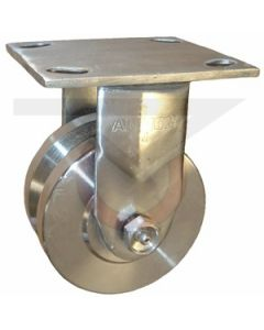 """Stainless Rigid Caster - 4"""" x 2"""" Stainless V Groove"""