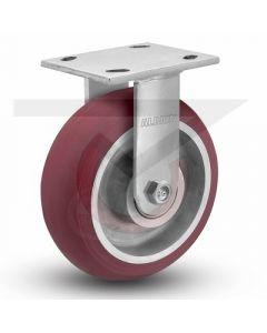 """Ergonomic Precsion Rigid Caster - 5"""" x 2"""" Rounded Polyurethane on Aluminum"""