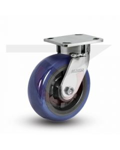 "Stainless Steel Kingpinless Swivel Caster - 6"" x 2"" Polyurethane"