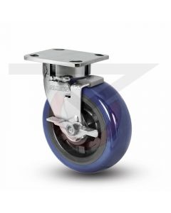 "Stainless Steel Kingpinless Swivel Caster With Brake - 6"" x 2"" Polyurethane"