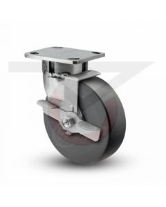 """Stainless Steel Kingpinless Swivel Caster With Brake - 6"""" x 2"""" High Impact Polymer"""