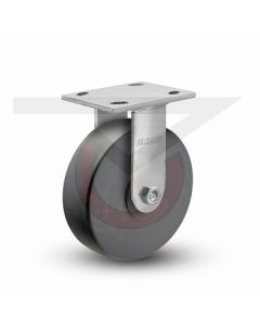 """Stainless Steel Kingpinless Rigid Caster - 6"""" x 2"""" High Impact Polymer"""