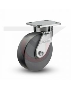 "Stainless Steel Kingpinless Swivel Caster - 5"" x 2"" High Impact Polymer"