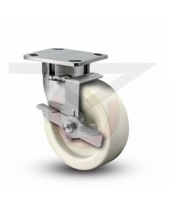 "Stainless Steel Kingpinless Swivel Caster With Brake - 8"" x 2"" High Temp Polypropylene"