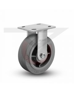 """Stainless Steel Kingpinless Rigid Caster - 6"""" x 2"""" Gray Rubber"""