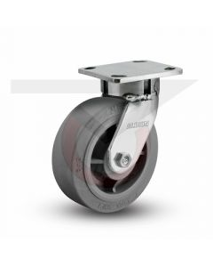 """Stainless Steel Kingpinless Rigid Caster - 5"""" x 2"""" Gray Rubber"""