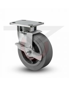 """Stainless Steel Kingpinless Swivel Caster With Brake - 6"""" x 2"""" Gray Rubber"""