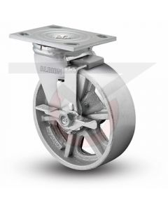 "Albion 16 Series Swivel Caster with Face Brake - Cast Iron 8"" x 2"""