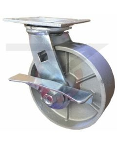 "Economy Swivel Caster - Brake - Cast Iron 3.25"" x 2"""
