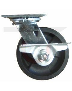 "#01HD Stainless Swivel Caster w/Brake - 5"" Hi-Temp RT Wheel"