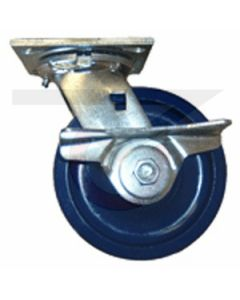 """#01HD Stainless Swivel Caster w/ Brake - 6"""" Solid Poly"""