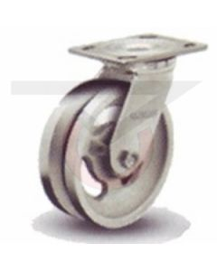 "Albion 16 Series Swivel Caster - V-Groove Cast Iron 5"" x 2"""