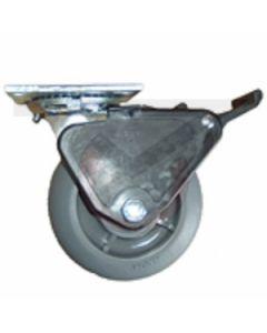 "Albioin 16 Series Swivel Caster - Grip Lock Brake - Round Tread Gray Rubber 8"" x 2"""
