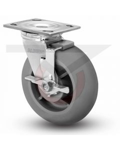 "Albion 16 Series Swivel Caster - Face Brake - Round Tread Gray Rubber 8"" x 2"""
