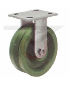 """Stainless Rigid Caster - 8"""" x 2"""" Poly V Groove"""