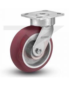 """Ergonomic Precision Swivel Caster - 5"""" x 2"""" Rounded Polyurethane on Aluminum"""