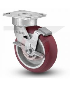 "Ergnomic Precision Swivel Caster with Brake - 4"" x 2"" Rounded Polyurethane on Aluminum"