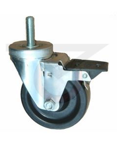 "Stainless Steel Swivel Caster with Brake - 1/2"" Threaded Stem - 3-1/2"" Phenolic"