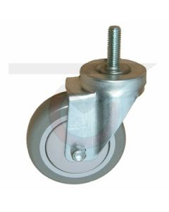 "Stainless Steel Swivel Caster - 1/2"" Threaded Stem - 3-1/2"" Polyurethane Wheel"
