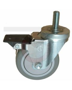 """Stainless Steel Swivel Caster with Brake - 1/2"""" Threaded Stem - 5"""" Poly on Poly"""