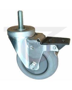 """Stainless Steel Swivel Caster with Brake - 1/2"""" Threaded Stem - 5"""" Gray Rubber"""