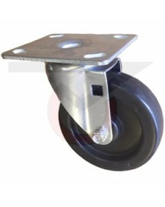 """Swivel Caster - 5"""" x 1-1/4"""" Soft Rubber - Extra Large Plate"""