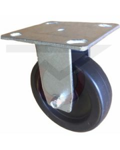 """Rigid Caster - 5"""" x 1-1/4"""" Soft Rubber - Extra Large Plate"""