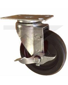 "Swivel Caster with Brake - 5"" x 1-1/4"" Phenolic - Extra Large Plate"