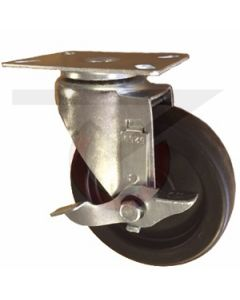 "Swivel Caster with Brake - 5"" x 1-1/4"" Soft Rubber - Extra Large Plate"