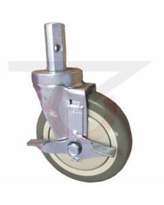 "Square Stem Caster with Brake - 7/8"" Stem - 5"" Polyurethane Wheel"