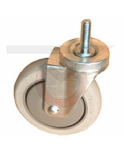 "Stainless Steel Swivel Caster - 1/2"" Threaded Stem - 5"" Gray Rubber Wheel"