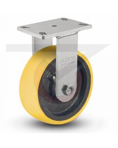 "310 Series Kingpinless Rigid Caster - 8"" x 3"" Polyurethane on Iron - Precision Bearings"