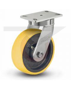"310 Series Kingpinless Swivel Caster - 6"" x 2.5"" Polyurethane on Iron - Precision Bearings"