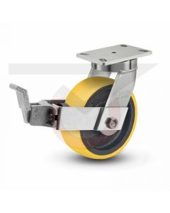 "310 Series Kingpinless Swivel Brake Caster - 6"" x 2.5"" Polyurethane on Iron - Precision Bearings"