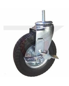"Swivel Caster with Brake - 6"" x 2"" Flat Free -Threaded Stem 1/2""-13 x 1-1/2"""