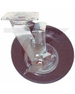 "Small Plate Swivel Caster w/ Brake - 6"" x 2"" Flat Free Wheel"