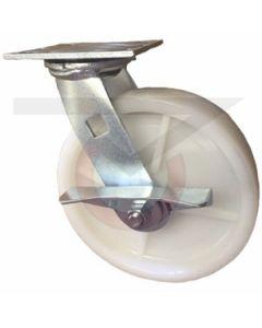 """Economy Swivel Caster - Brake - White Nylon 8"""" x 2"""""""