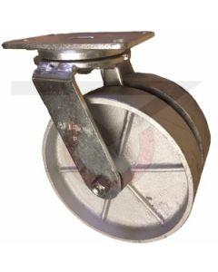"Dual Wheel Swivel Caster - 8"" x 2"" Cast Iron Wheels"
