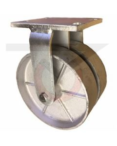 "Dual Wheel Rigid Caster - 8"" x 2"" Cast Iron Wheels"