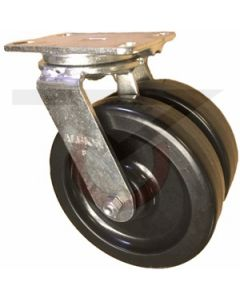 "Dual Wheel Swivel Caster - 8"" x 2"" Phenolic Wheels"
