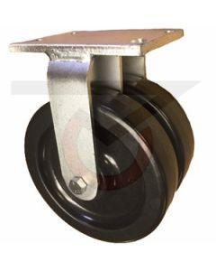 """Dual Wheel Rigid Caster - 8"""" x 2"""" Phenolic Wheels"""