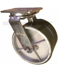 "Dual Wheel Swivel Caster - 8"" x 2"" Polyurethane on Iron Wheels"