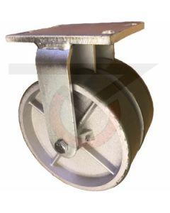 "Dual Wheel Rigid Caster - 8"" x 2"" Polyurethane on Iron Wheels"