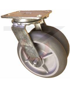 """Dual Wheel Swivel Caster - 8"""" x 2"""" Gray Rubber Wheels"""