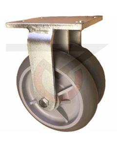 "Dual Wheel Rigid Caster - 8"" x 2"" Gray Rubber Wheels"