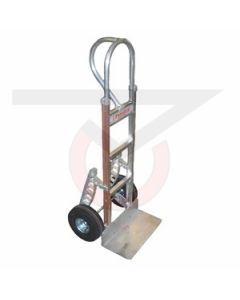 "Aluminum Hand Truck - Vertical Grip Handle - 10"" Flat Free Wheels"