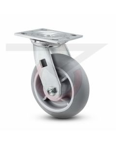 "#01HD Stainless Swivel Caster w/ Brake - 8"" Gray Rubber"