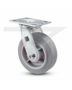 """#01HD Stainless Swivel Caster - 5"""" Gray Rubber"""